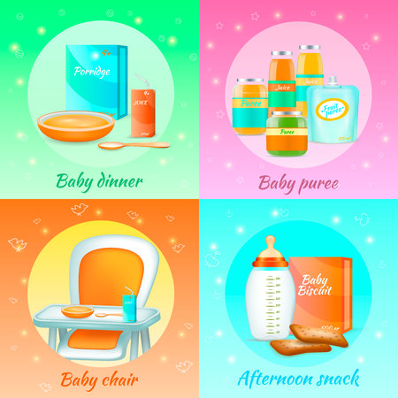Baby food 2x2 realistic 3d set of colorful compositions with baby puree and afternoon snack packs. Vector illustration.