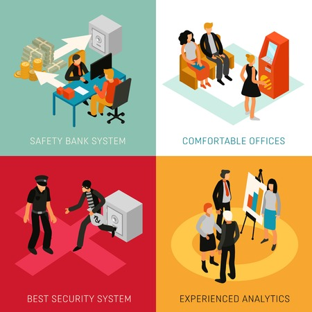 Bank people staff customers 4 isometric icons concept with analytics advisers and security system isolated vector illustration
