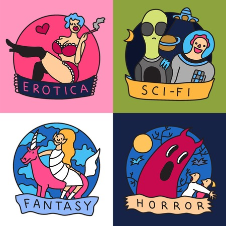 Cinema genres concept colorful icons with science fiction horror fantasy and erotic movies isolated vector illustration
