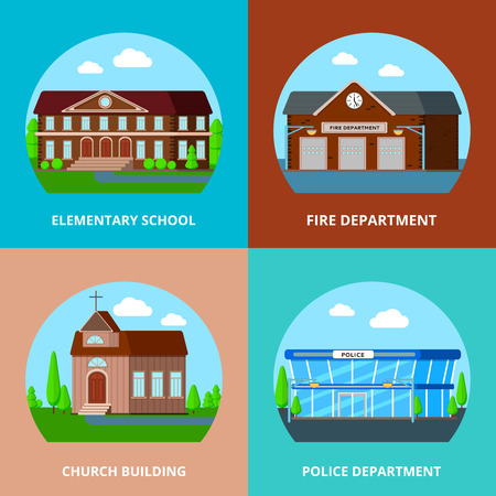 Municipal buildings flat design concept with round compositions of common use special service urban buildings vector illustration