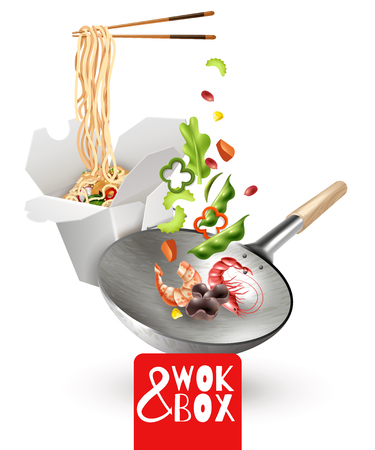 Realistic chinese noodles in cardboard box, wok with flying ingredients including vegetables, shrimps, mushrooms vector illustration