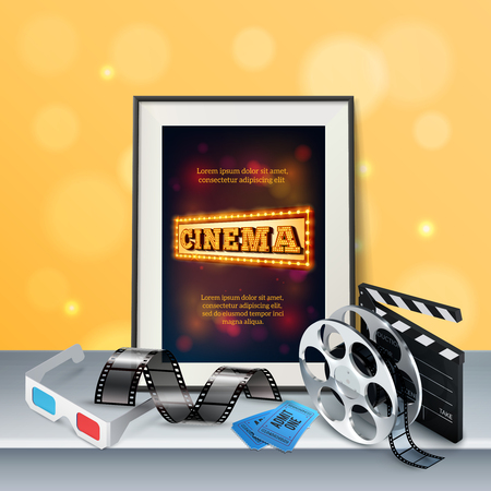 Cinema background with 3d glasses film, strip retro reel clapboard. two tickets and frame on grey surface. Realistic vector illustration.