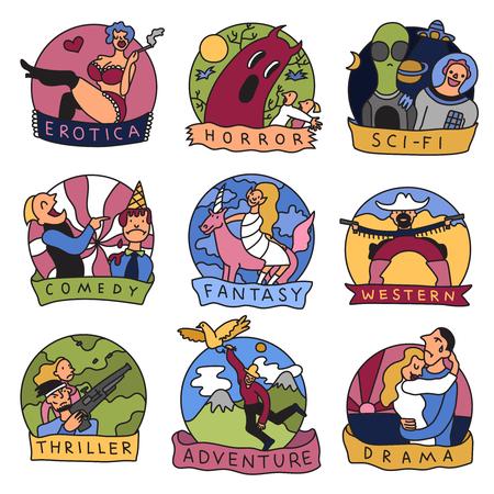 Cinema movie cartoon genres symbols icons collection