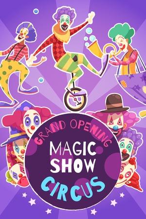 Circus grand opening magic how performance announcement poster Illusztráció