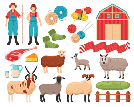 Sheep breeding products flat icons collection, isolated vector illustration.