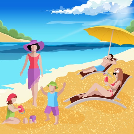 People on beach composition with tropical sea landscape kids sporting upon the shore and adult characters vector illustration Illustration