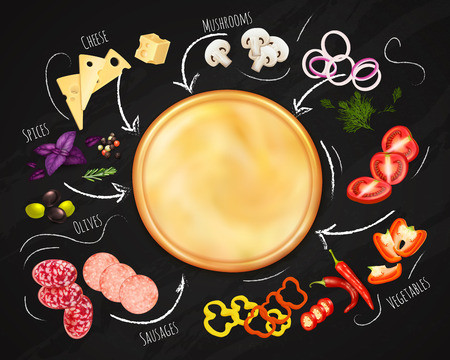 Pizza constructor realistic composition with dough and ingredients on black chalk board background vector illustration.