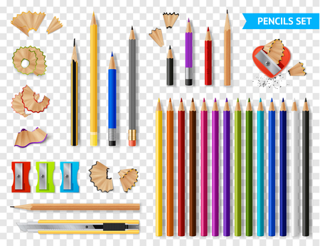 Multicolored set of wooden sharpened pencils on transparent background with supplies realistic vector illustration