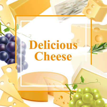 Realistic cheese of various kind with branches of grape, green leaves, frame background vector illustration