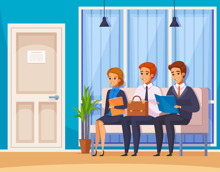 Recruitment hiring hunting hr cartoon characters composition with human characters of job candidates waiting in office lobby vector illustration.