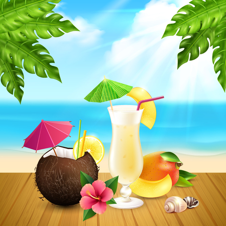Cocktails realistic composition with two pina colada cocktail one in glass and second in coconut at the beach vector illustration