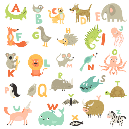 Complete children alphabet for babies toddlers preschoolers with funny animals pictures for each letter vector illustration. Illustration