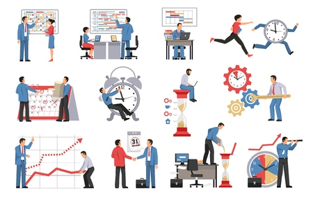 Time management isolated icons set of people planning their business process and work schedule vector illustration