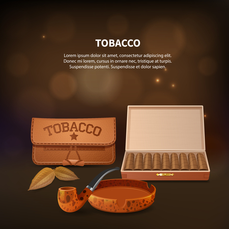 Tobacco realistic composition with smoking pipe tobacco and necessary attributes for smoking vector illustration