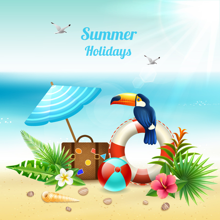 Summer holidays realistic colored concept with tourist stuff on the beach in sand vector illustration Иллюстрация