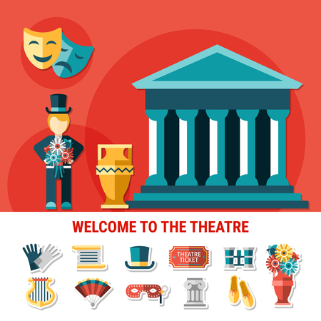 Theater flat colored composition with isolated icon set