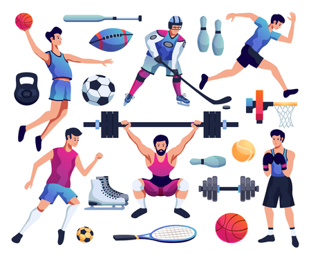 people involved in sport decorative icons set of accessories for baseball tennis hockey skates and dumbbell vector illustration