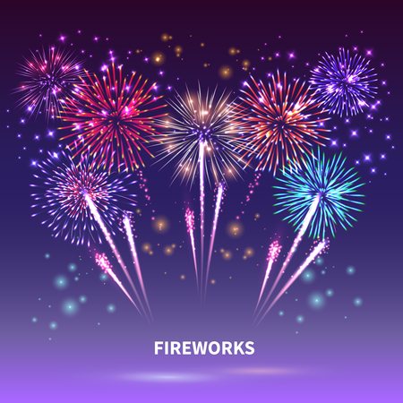 Fireworks composition with colourful images of shiny firework spots of different shape on gradient background vector illustration