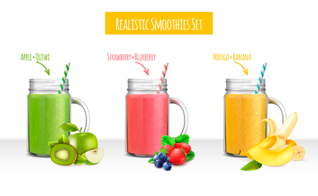 Colorful set of jars with smoothie drinks composed by fruits and berries ingredients realistic vector illustration