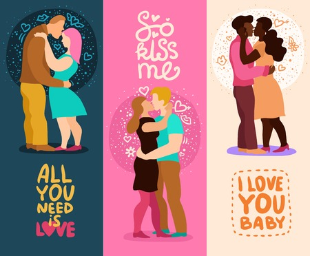 Love hugs set of vertical banners with phrases about affection, couple during kiss isolated vector illustration.