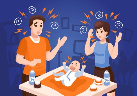 Composición de problemas de sueño de los bebés con padres frustrados calmante bebé recién nacido llorando en la noche ilustración de vector de fondo azul