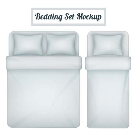 Top view mock-up of white blank bedding set for single and double bed realistic isolated vector illustration.
