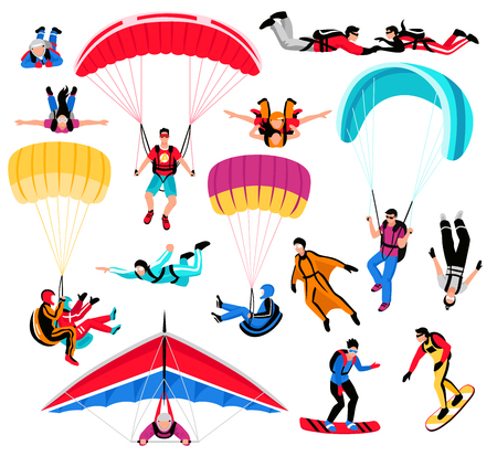 Skydiving amd extreme sports set flat isolated vector illustration