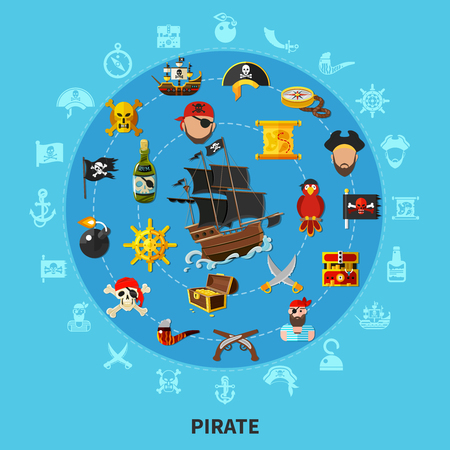 Pirate attributes including sail ship, weapon, treasure, map, parrot, round cartoon composition on blue background vector illustration.