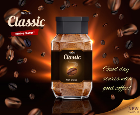 Morning energy of classic coffee realistic composition with glass jar of instant coffee and scattered natural beans vector illustration