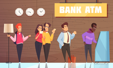 Bank interior atm poster with young man couple businessman characters waiting in queue for cash vector illustration Ilustrace