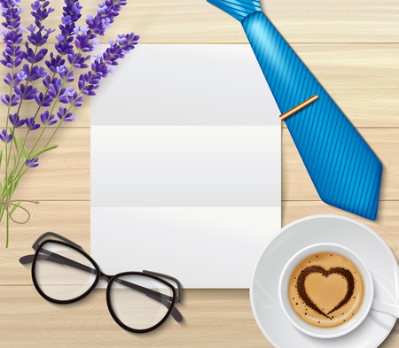 Dad day composition with top view of blank piece of paper for congratulatory letter on table vector illustration