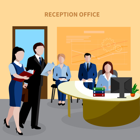 Flat design human resources background with people waiting in reception office vector illustration. Illustration