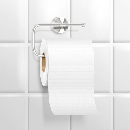Het witte geweven toiletpapier hangen op chroomhouder op betegelde muur achtergrond realistische samenstellings vectorillustratie