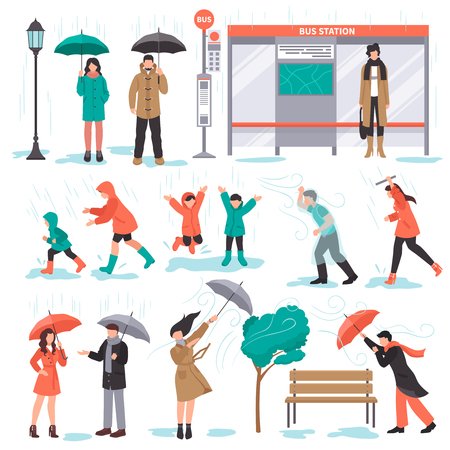 Bad weather set with rain and wind symbols flat isolated vector illustration