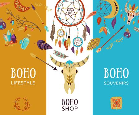 Boho souvenir lifestyle decorative elements Illusztráció