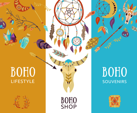 Boho souvenir lifestyle decorative elements Illustration