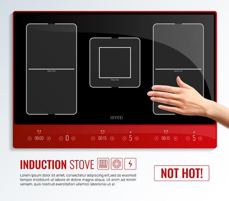 誘導ストーブが熱いヘッドラインベクトルイラストではないリアルな誘導ホブ表面ハンドポスター 写真素材 - 98849761