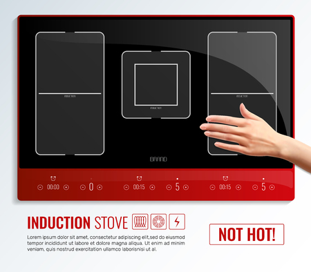 Realistic induction hob surface hand poster with induction stove not hot headline vector illustration