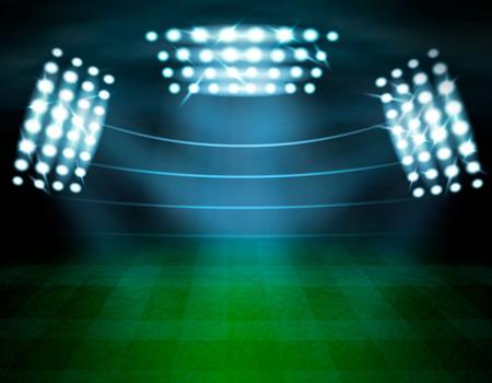 Stadium with spotlights realistic composition of empty illuminated football playground stadium stand silhouettes and lighting towers vector illustration Çizim