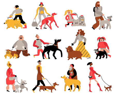 Set of people with dogs of various breeds including retriever, Doberman, poodle isolated hand drawn vector illustration Illustration