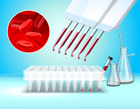 Laboratory glassware and tests composition with blood test symbols realistic vector illustration