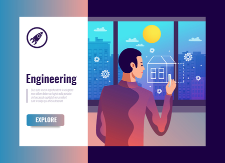 Engineering vector illustration with male figurine of designer painting house symbol on glass window by chalk