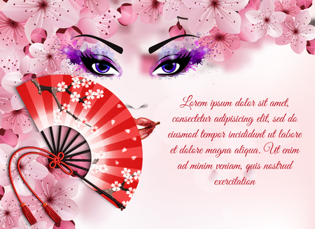 Sakura realistic elements concept with abstract painting with a woman's face and fan vector illustration. Stock Illustratie
