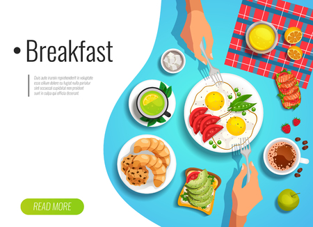 Breakfast colored background with top view of served table and people hands holding forks flat vector illustration