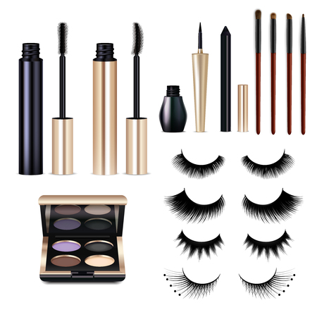 Set of realistic false lashes and decorative cosmetics for eyes including mascara, shadow palette isolated vector illustration