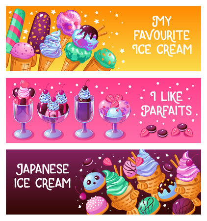 Japanese ice cream parfait frozen dessert waffle cones with pistache balls 3 horizontal banners isolated vector illustration