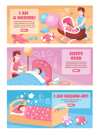 Mother putting baby to sleep in bed cradle swing 3 bedtime horizontal banners isolated vector illustration