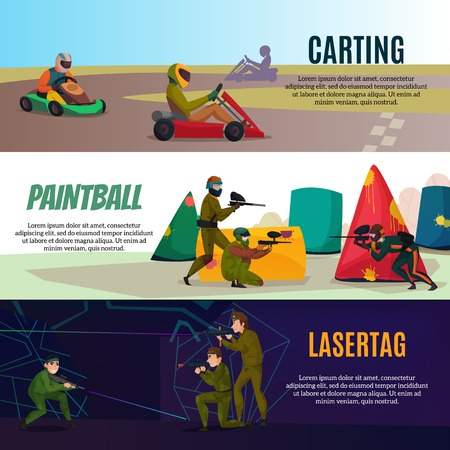 Modern gaming sports horizontal banners set with paintball symbols flat isolated vector illustration Illustration
