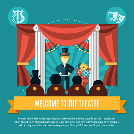 Theatre colored concept with welcome to the theater headline on yellow big ribbon vector illustration Illustration