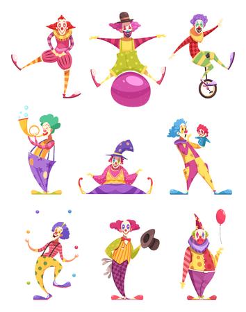 Satz Ikonen blödelt in den bunten Kostümen mit verschiedenen Elementen einschließlich Unicycle, Marionette, Ball lokalisierte Vektorillustration herum